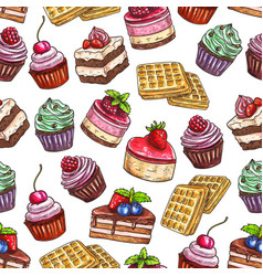 Pastry pattern of patisserie desserts vector