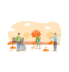 people volunteers cleaning up autumn leaves in the vector image