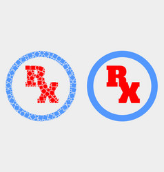pixelated and flat rx receipt symbol icon vector image