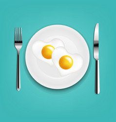 Plate with fried eggs heart fork and knife with vector
