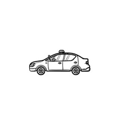 police car with siren side view hand drawn outline vector image