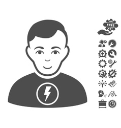 Power Man Icon With Tools Bonus vector
