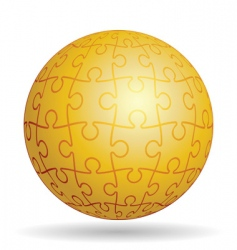puzzle golden ball vector image