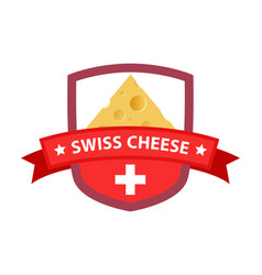 red badge with swiss cheese vector image