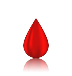 Red blood drop with reflection isolated on white vector