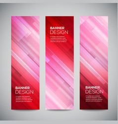 Red low poly vertical banners set with vector image
