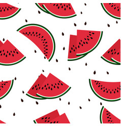 Red watermelon slices seamless pattern vector