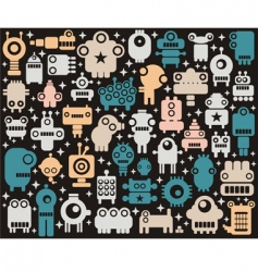robots monsters background vector image