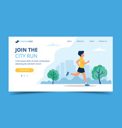 running landing page template man running in the vector image