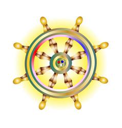 Sacred symbol golden dharma wheel icon holy vector