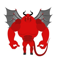 Satan Red Devil with wings Big and powerful demon vector
