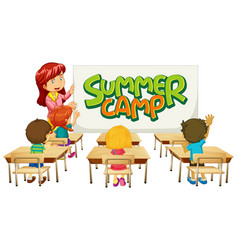 Scene with teacher and students in classroom and vector