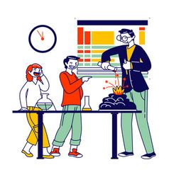 School children characters in lab watching teacher vector