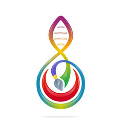 science - art concept with brush note dna shaped vector image