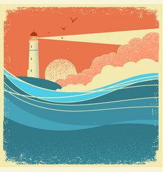 sea waves with lighthousevintage nature poster of vector image