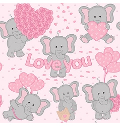 Seamless pattern cute valentine elephant vector