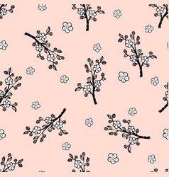 Seamless pattern with a japanese oriental cherry vector