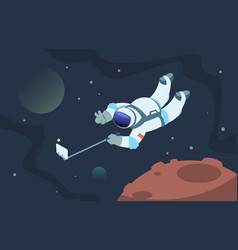 Selfie astronaut fanny cosmonaut taking photos vector