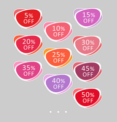 set of abstract rounded colorful sale stickers vector image