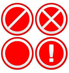 Set of different prohibition warning signs road vector