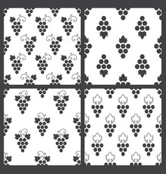 set of monochrome seamless pattern of grapes vector image