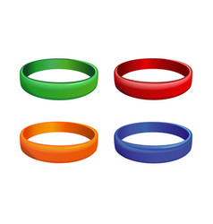 Set of multicolored plastics wristband vector