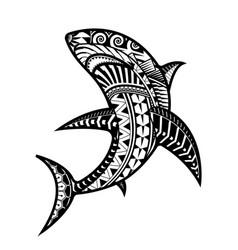 shark tattoo polynesian style vector image