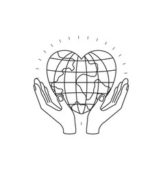 Silhouette hands with floating earth globe world vector