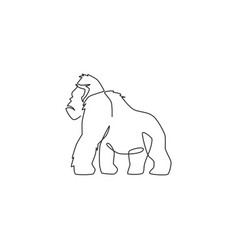 single continuous line drawing gorilla for vector image