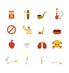 Smoking Icon Flat Set vector
