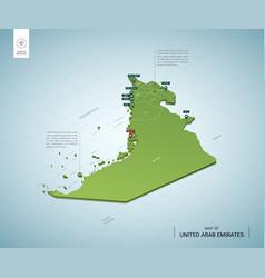 Stylized map united arab emirates isometric 3d vector