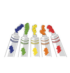 Tempera tubes in five basic color vector
