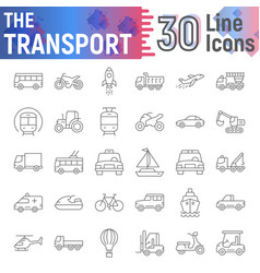 Transport thin line icon set vehicle symbols vector