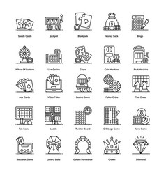 Trendy casino games line icons pack vector