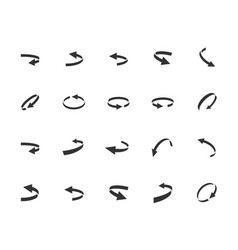 Turning arrows icon set in glyph style vector