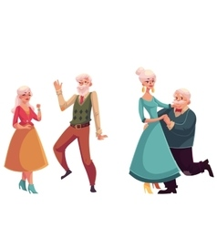 Two couples of old senior people dancing together vector image