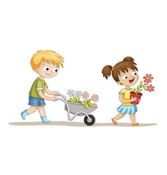 two kids with flowers vector image