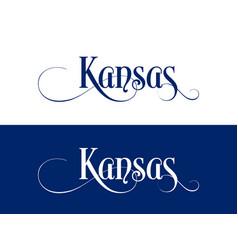 typography of the usa kansas states handwritten vector image
