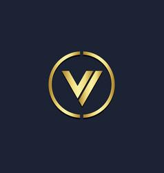 v initial round monogram gold logo vector image