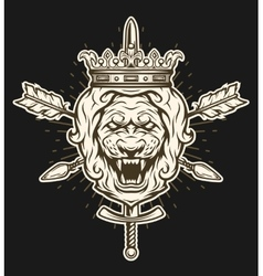 Vintage symbol of a lion head with crown vector