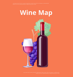 Wine map poster red wine bottle and glass merlot vector