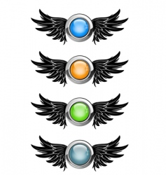 Winged round buttons vector