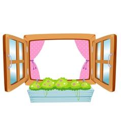 wooden window vector image