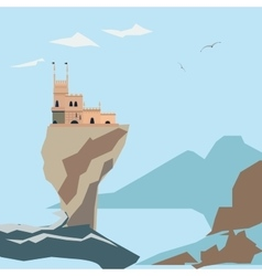 Yalta Swallow Nest on clif and sea background vector image