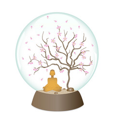 Yoga in glass ball vector