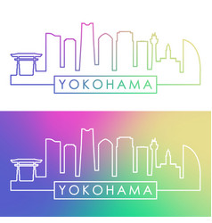 Yokohama skyline colorful linear style editable vector