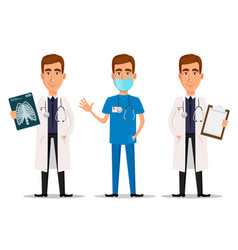 young professional doctor set with x-ray shot vector image