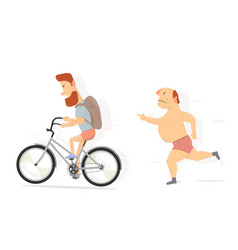 bicycle bearded guy character funny man vector image vector image
