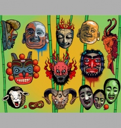 east Asian masks vector image vector image