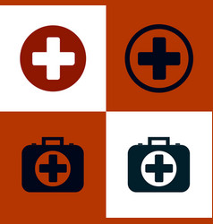 medical cross and first aid kit set of medical vector image vector image